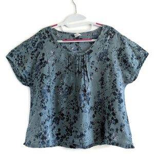 Poetry Blue-Grey  Floral Linen Shirt 12